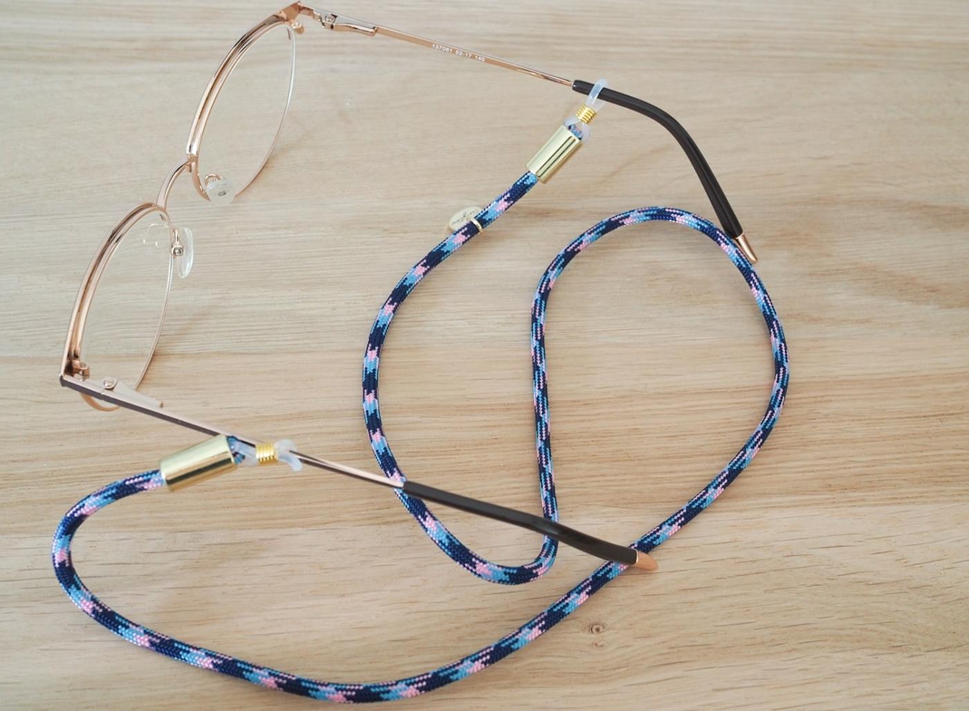 Brillenband gemustert in blau rosa