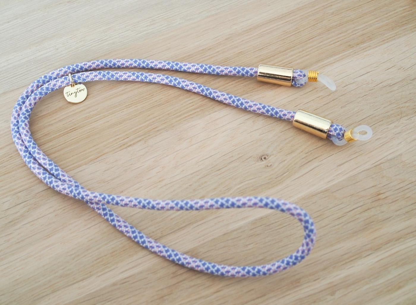 Brillenband in rosa-hellblau mit goldenen Details