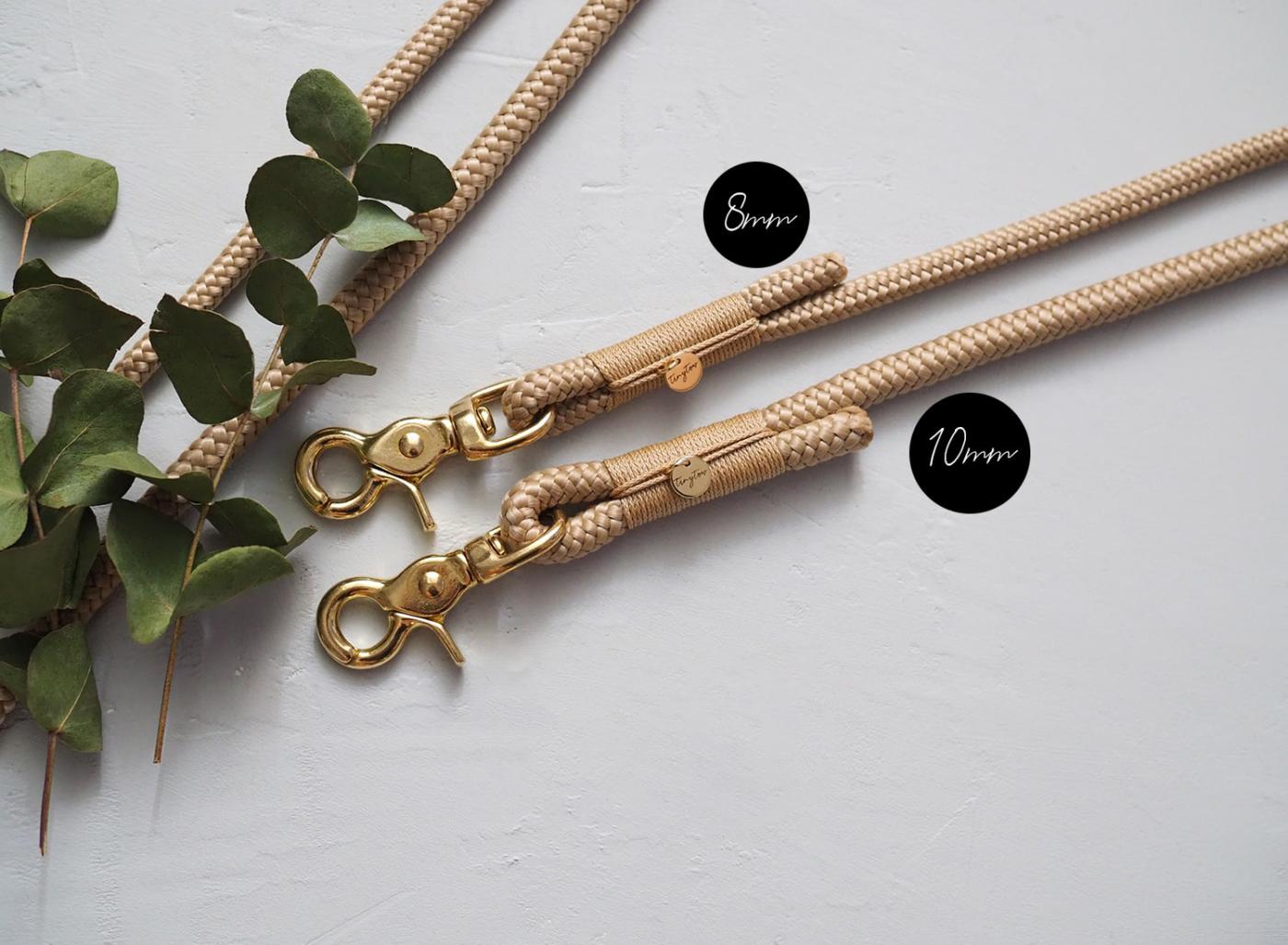 Hundeleine Tau Seil Stärke 8mm und 10mm im Vergleich