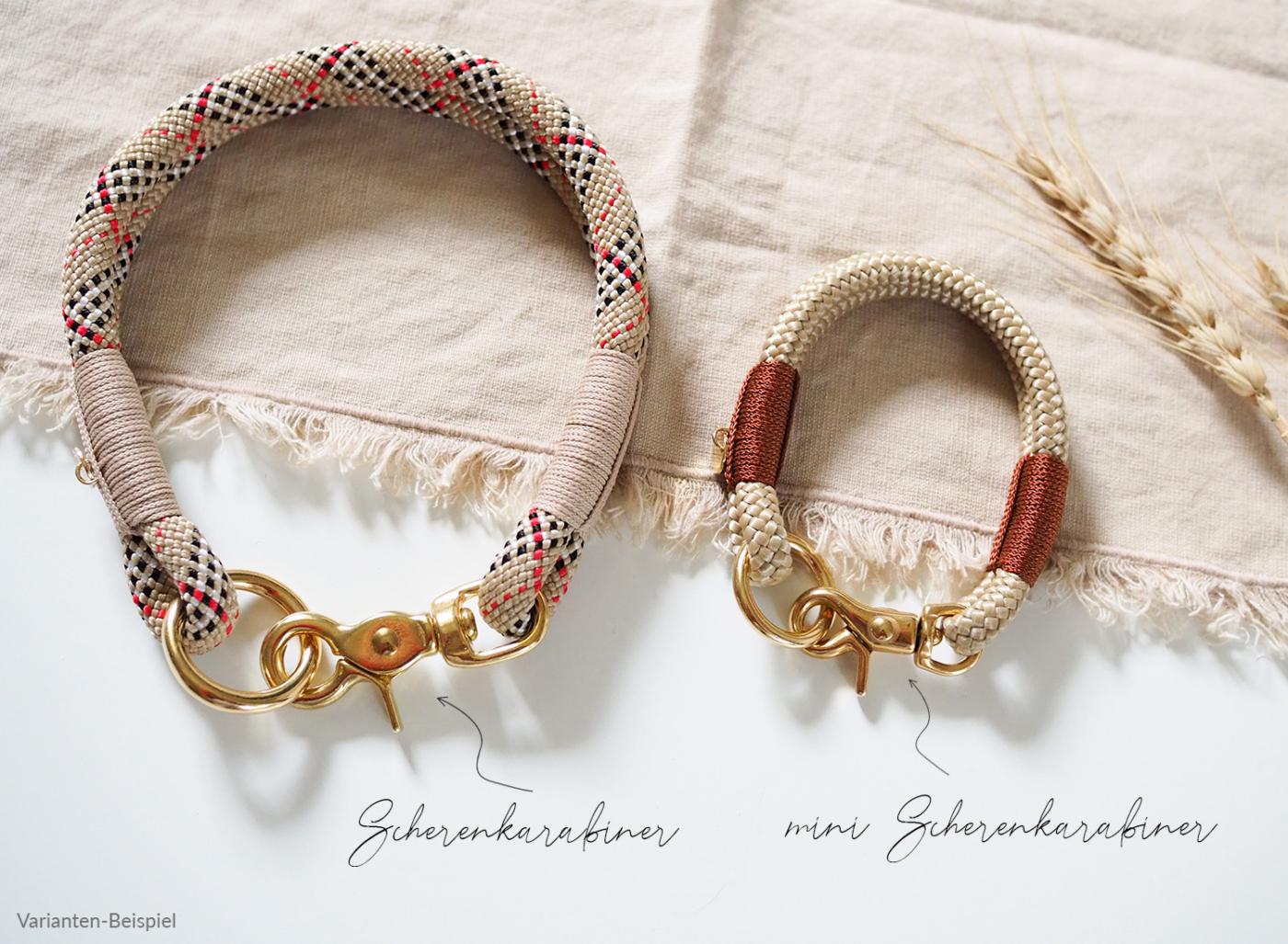 Scherenarabiner und mini Scherenkarabiner im Vergleich an Taushalsbändern