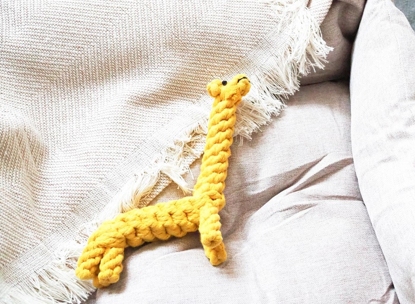 Hundespielzeug zum Zähne Reinigen aus Baumwolle in gelb - Greta Giraffe.