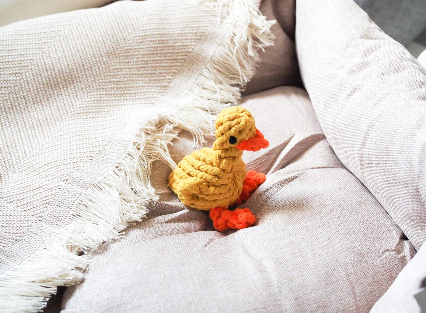 Hundespielezeug aus natürliche Baumwolle zum Reiniger der Zähne des Hundes - Ente Didrik