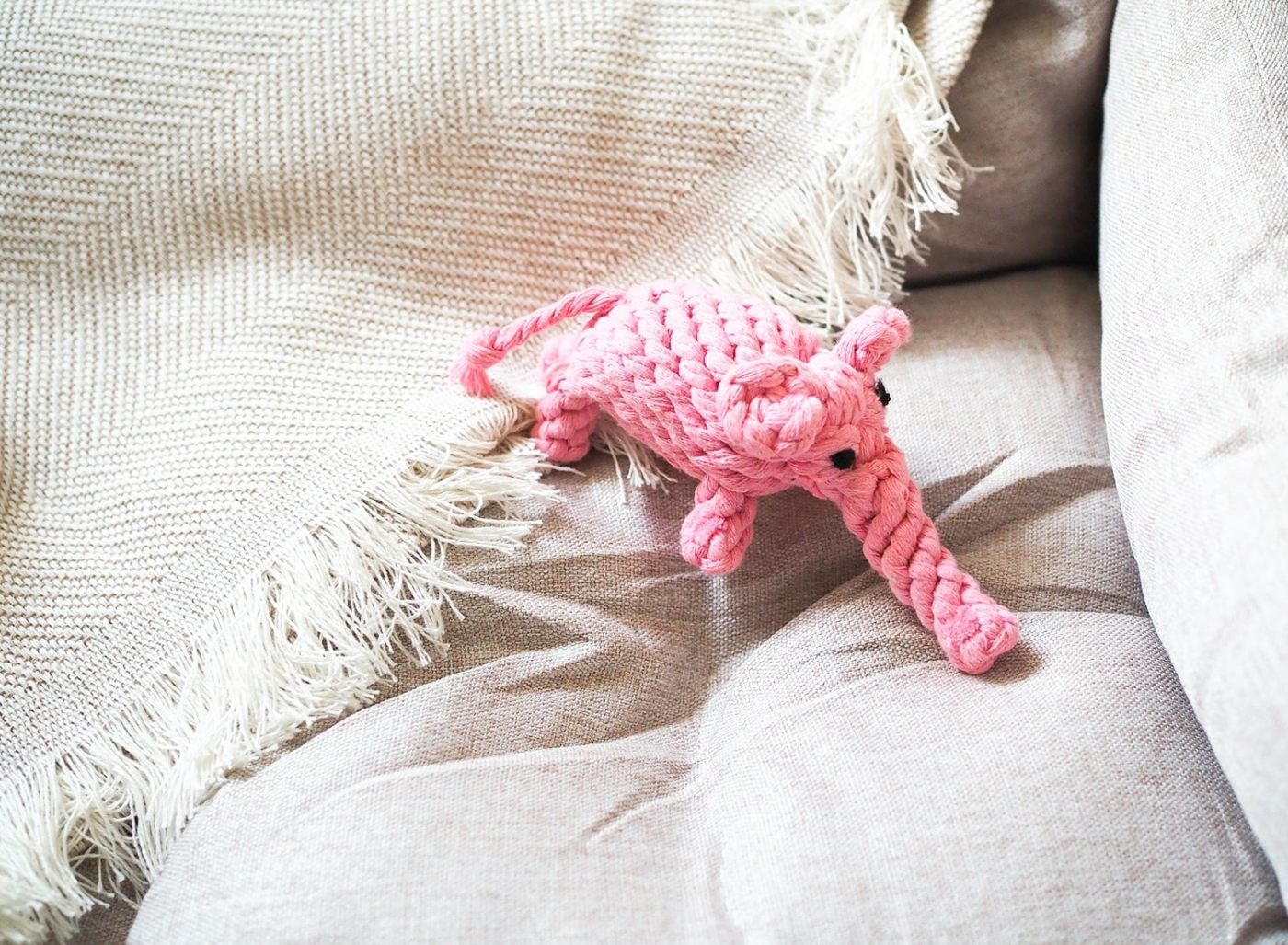 Natürliches Hundespielzeug aus Baumwollseil zum Reiniger der Zähne des Hundes - rosa Elefant Elsa.