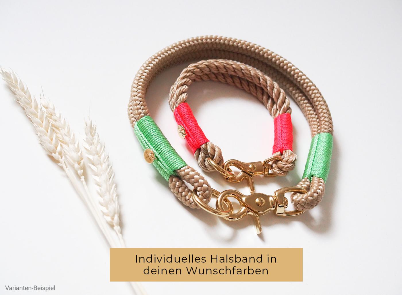Individuelles Halsband aus Tau in deinen Wunschfarben. Passgenaues Halsband für den Hals deines Hundes.